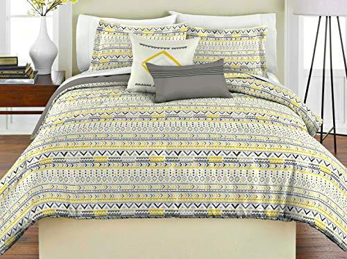 RHAPSODY Super Soft Geo Tribal White & Grey mit Gelb- & Golddesign - 5-teiliges Full/Queen Tröster - Set - inkl. 1 Wendedecke - 2 Kissenbezüge - 100% Polyester (Full Set Strand Tröster)