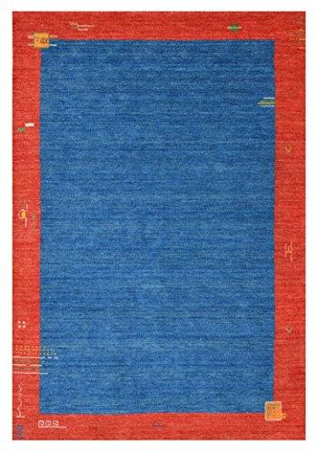Morgenland Gabbeh Teppich BAROSSA 180 x 120 cm Blau Rot Einfarbig Bordüre Brücke Musterung...
