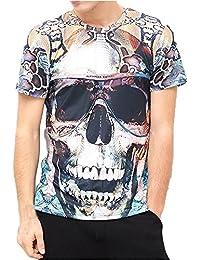Camisetas Calaveras Hombre Hipster LHWY, Camisetas con Estampado De 3D Cuello Redondo Tops Suelto Manga Corto Casuales