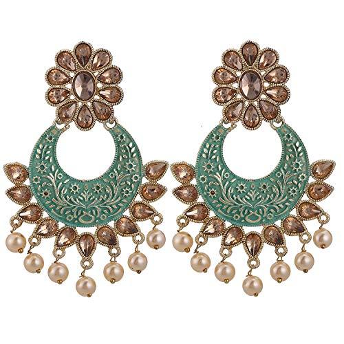 Efulgenz - Set di orecchini indiani in stile Bollywood, placcati in oro anticato, con perle sintetiche e strass