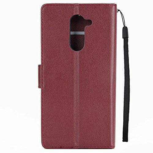 Classic Premiu PU Ledertasche, Horizontale Flip Stand Case Cover mit Cash & Card Slots & Lanyard & Soft TPU Interio Rückseite für Huawei Hornor 6X ( Color : Black ) Wine