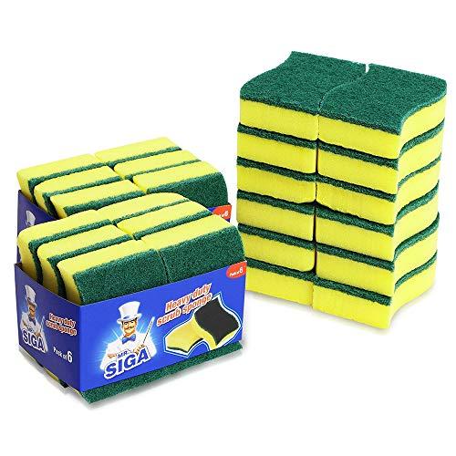 MR.SIGA éponge de récurage multi-usages à toute épreuve double face à frotter, lot de 24 pièces, dimension: 11 x 7 x 3cm, (4.3\