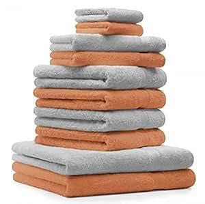 10 tlg Handtuch Set Premium Farbe Orange Terra & Silber Grau 100% Baumwolle 2 Duschtücher 4 Handtücher 2 Gästetücher 2 Waschhandschuhe
