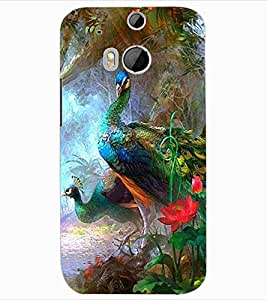 ColourCraft Beautiful Peacock Design Back Case Cover for HTC ONE M8