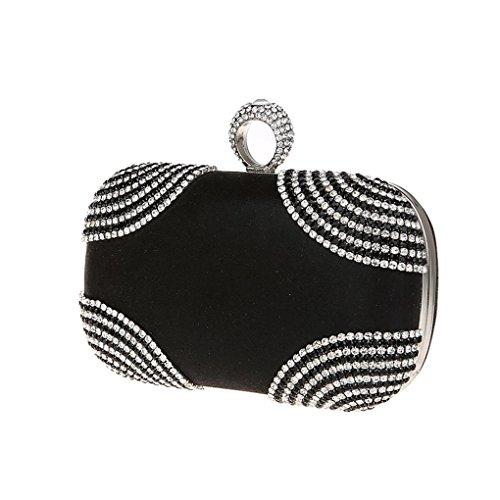 KAXIDY Pochette Donna Luccicante Diamante Sera Borsa Sacchetti di Sera Frizioni Festa Nuziale Borsa Tracolla Nero