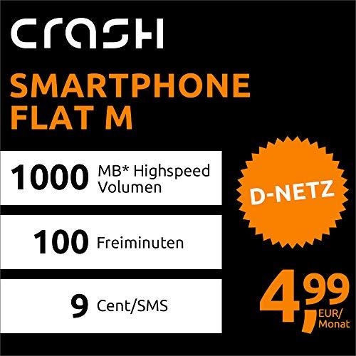 Crash Smartphone Flat M mit 1 GB Internet Flat max. 21,6 MBit/s, 100 Frei-Minuten in alle deutschen Netze, EU-Roaming, 24 Monate Laufzeit, monatlich nur 4,99 EUR, Triple-Sim-Karten