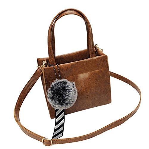 Longra Donne Moda Pelle Hairball Borsetta Borsa a Tracolla Casuale Tote Bag Elegante Totalizzatore Borsa Bellissimo Sera Piccolo Moda Cerimonia Borsa Crossbody Bag (Marrone)