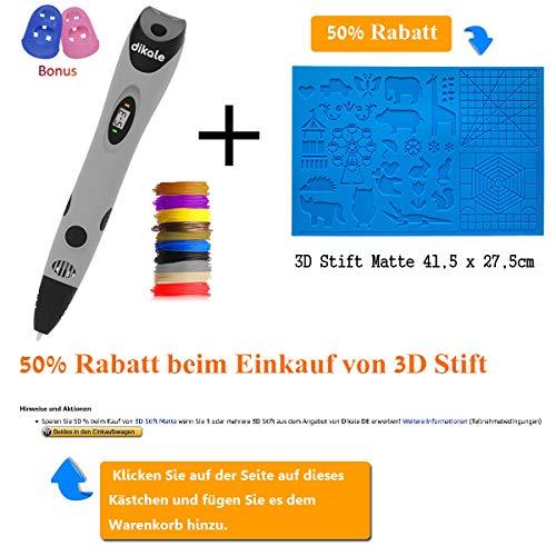 3D Stifte + PLA 18 Farben – 【Neueste Version 2018】3D Stifte mit PLA Farben 120 Fuß und 250 Schablonen eBook, Dikale 07A 3D Pen als kreatives Geschenk für Erwachsene, Bastler zu kritzeleien, basteln, malen und 3D drücken - 2