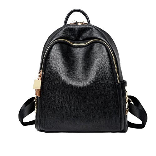 Frauen Mode Niet Mini Pu-leder Rucksack Umhängetasche College Handtasche Rucksack Black1