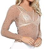 Bluse Damen REALIKE Frau Elegant Rundhals Perspective Langarm Pullover Star Stickerei Sweatshirt Einfarbig Slim Oberteile Mode Transparent Tunika Strickwaren Crop Top T-Shirt