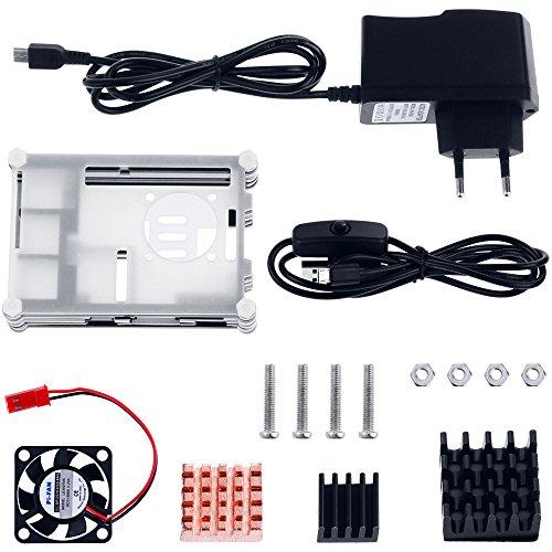 51sHYsFhhEL - Zacro 5-EN-1 Kit para Raspberry Pi 3 y 2, Caja de 9 Capas de Refrigeración + Mini Fan con 4 Tornillos, USB Cable Encendido, 3 Disipador de calor, USB Cable Cargador