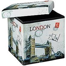 Relaxdays 10019050_367 - Banco taburete con función de Baúl de cuero sintético, 38 x 38 x 38 cm, carga máxima 300 Kg, se puede almacenar muchas cosas, diseño Londres