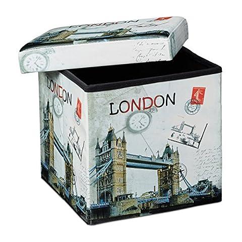 Relaxdays Tabouret pliant coffre de rangement pliable banc de stockage avec couvercle amovible 38 x 38 x 38 cm pouf en similicuir repose-pieds table appoint motifs tendances Londres