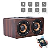 elecfan Stereo Kabellos Bluetooth 4.2 Lautsprecher Boxen aus Premium Holz, Outdoor Extra Bass Wireless Speakers Musik Palyer Musik Sound Box für PC Computer Handy Fernseher Laptop MP3 MP4 - Rot