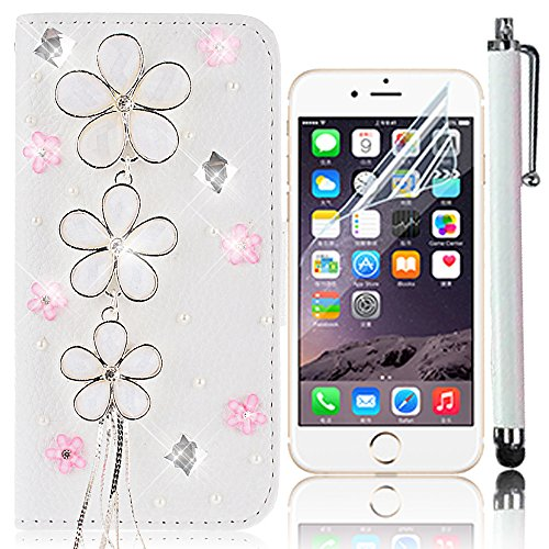 Sunroyal® iPhone 7 Etui Housse Coque PU Cuir Leather Noir Flip Case Cover Bling Crystal Strass Luxe Élégant Cas Sac Swag Portefeuille Pochette PC Plastique Solide Shell Hull Couvrir Couvercle Rabattab Bling 07