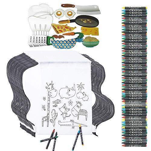 Partituki Kleine Geschenke für Kinder. 30 Taschen Zu Malen, 30 Sets mit 5 Farbigen Wachsen und 12 Photo Booth Props Kochen. Für Mitgebsel Kindergeburtstag Gastgeschenke (Prop Ideen Für Photo Booth)