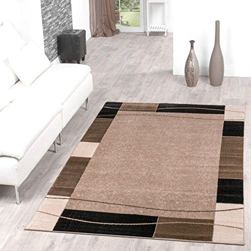 Alfombra con cenefa, diseño moderno, alfombra para salón, color beis y negro, 160 x 220 cm