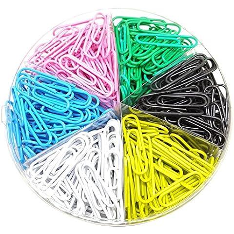 Leisial Regalos Creativos 500pcs de 33mm Clips de Papel de Marcadores Multicolor