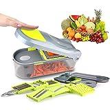 Kilokelvin Cortador de Verduras Mandolina Frutas, 9 Cuchillas de Intercambiables, Ralladores y cortadores manuales rallador Verduras (para Cebolla, Zanahoria, Tomates, etc)