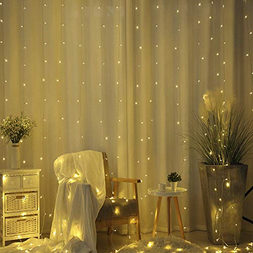 CITRA 240 LED 9.8Feet Curtain Lights Icicle Lights Fairy String Lights with 8 Modes for Wedding Party Family Patio Lawn Decoration - Warm White