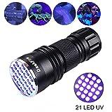 DaskFire UV LED Taschenlampen 21 LEDs Utlra Violet Schwarzlicht Taschenlampe, 395nm Pet Urin & Flecken Detektor, Flecken auf Kleidung, Teppich oder Teppiche (3 AAA Batterien sind nicht im Lieferumfang enthalten)