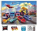 Papier peint photo pour chambre denfant avec voitures et avions - voitures de course - décoration de voitures pour chambres de garcons - pompiers et grue comme motif pour enfants by GREAT ART (140 x 100 cm)