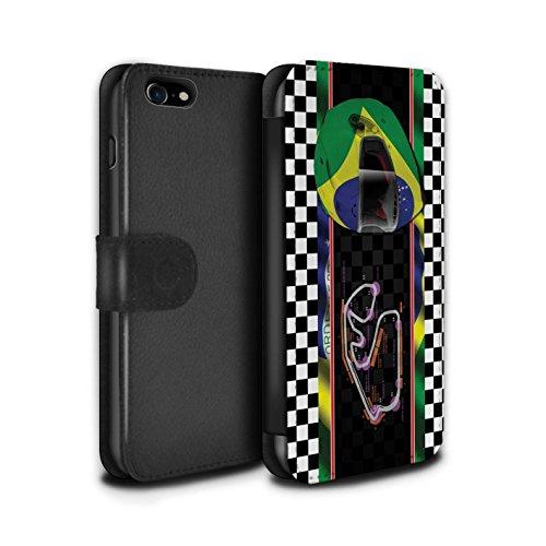 Stuff4 Coque/Etui/Housse Cuir PU Case/Cover pour Apple iPhone 8 / Bahreïn/Sakhir Design / F1 Piste Drapeau Collection Brésil/SãoPaulo