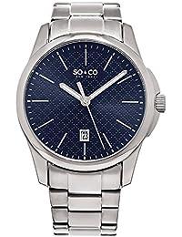 SO&CO New York Men's 5095.3 Madison Quartz Blue Square Design Dial Date Luminous Hands Stainless Steel Link Bracelet Watch
