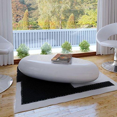 vidaXL Tavolino da Caffè in Fibra di Vetro Bianco Lucido Tavolo Basso Salotto
