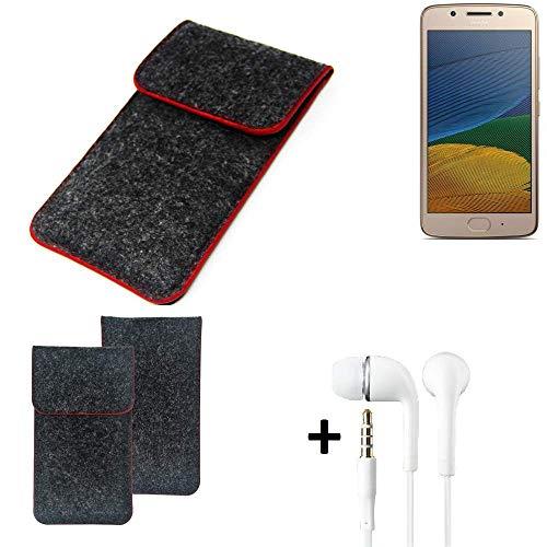 K-S-Trade® Filz Schutz Hülle Für Lenovo Moto G5 Single-SIM Schutzhülle Filztasche Pouch Tasche Handyhülle Filzhülle Dunkelgrau Roter Rand + Kopfhörer