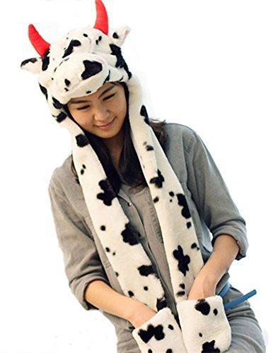 DELEY Unisex Plüsch Tier Hut Mit Langen Schal Handschuhe Ohrenschützer Halloween Weihnachten Winter Kappe Mütze Karneval Kostüme Kühe