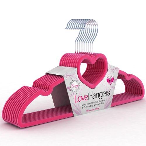 Love Hangers® Top Quality Velvet, Flocked Clothes, Skirt & Coat Hangers, 10 Pack (Romantic Pink)
