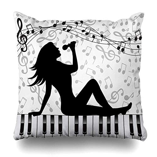 Zierkissenbezüge, Throw Pillow Covers, Jazz Singing Sitting On Piano Keys Foot Industrial Microphone Singer Adult Adultress Design Diva Home Decor Pillowcase Square Size 18