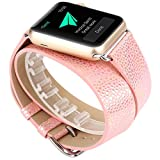 Ouneed Für Apple Watch 38mm Uhrenband , Lange Lederband Double Tour Armband Uhrenarmband für Apple Watch 38MM (Silber)