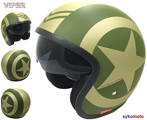 Viper RS-V06 - Casco da moto aperto con visiera, per scooter e scooter, cruise chopper, ECE Road Legal, crash con visiera, colore: verde milit