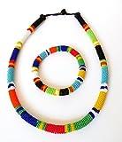 Parure collier et bracelet en perles Sud Africain Zoulou - Multicolore traditionel