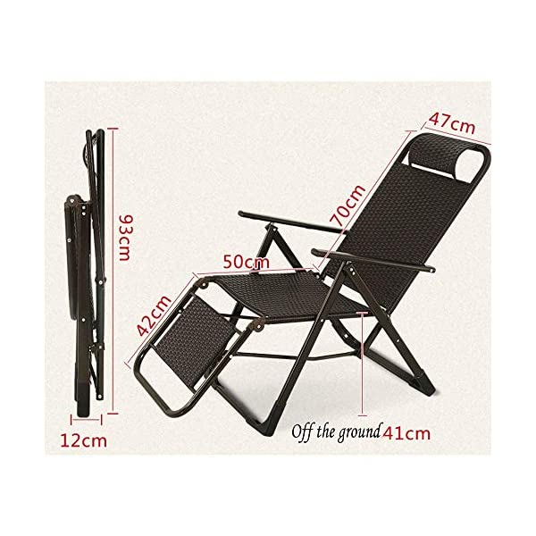 LYATW Thick Zero Gravity Lounge Chair, Terrace Folding Adjustable Chair,Outdoor Garden Garden Folding Chair Folding Lounge LYATW Folding chair: It adopts high-quality U-shaped headrest, which can effectively fit the neck and has good air permeability, so that the head can be well relaxed. Environmentally friendly PE rattan, easy to clean, smooth to the touch and good elasticity. Widened armrest design: With perfect height to ensure your arms are relaxed. The surface is made of environmentally-friendly anti-rust paint, no odor, and more peace of mind. Ergonomic design: easy to switch the angle of the recliner, 9-speed adjustment function, 90 degrees to 160 degrees freely adjustable, allowing you to adjust to the desired angle during use. 2