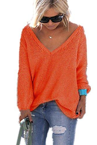 YACOPO Damen Herbst und Winter arbeiten lose mit langen Ärmeln V-Ausschnitt-PulloverSexy Pullover mit V-Ausschnitt Pulli tollen Farben - 12 Farben und 4 Größen (Pullover Kaschmir Gestreift)