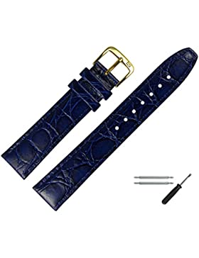 MARBURGER Uhrenarmband 16mm Leder Blau - Rindsleder, Kroko Prägung - Inkl. Zubehör - Ersatzarmband, Schließe Gold...