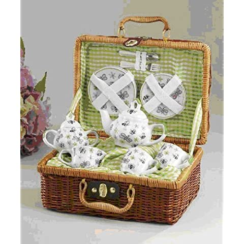 Delton Products Green Bumble Bee Porcelain Tea Set for Two in Basket by Delton