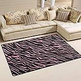 MUMIMI Teppich, Zebra-Muster, modern, Rutschfest, für Wohnzimmer, Esszimmer, Dekoration, weich, pflegeleicht, 78,7 x 50,8 cm, Polyester, Mehrfarbig, 31 x 20 inch