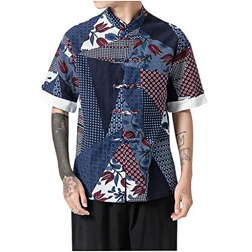TWISFER Herren Chinese Vintage Style Kurzarm Leinenhemd T-Shirt Frog Schnalle Drucken Sweatshirt Men Casual Leinen T-Shirt Button Oberteile Blusen Terry Jumper