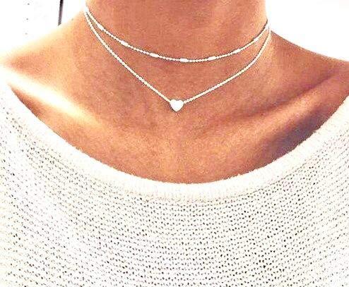 Damen Halskette mit kleinem Herz in Gold | Frauen Schmuck aus Edelstahl | Doppelkette mit Box als Geschenk