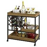 SoBuy Angolo Bar per casa Vintage Carrello Cucina salvaspazio con portabottiglie e 3 vassoi Rimovibili L78*P40*A82 cm, FKW86-N