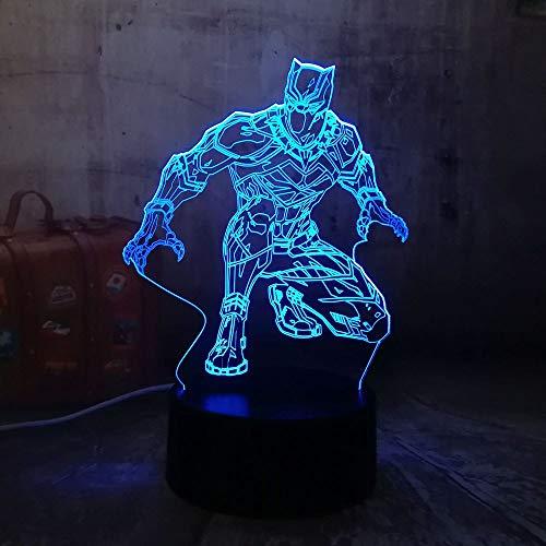 1 PACK, Nachtlicht Cool Black Panther Für Marvel Hero 3D LED RGB 7 Farbwechsel Schreibtischlampe USB für Kind Kinder Jungen Geschenk Weihnachten Home Decro