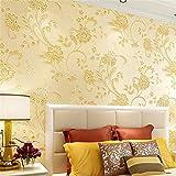 XPY-Wallpaper Warmer Gartentapete 3D Vliestapete Schlafzimmer Wohnzimmer Hintergrundbild, gelb