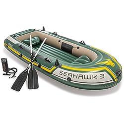 INTEX Seahawk 3, 3P Ensemble de Bateau Gonflable avec rames en Aluminium et Pompe à air de Sortie élevée (dernier Modèle)