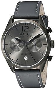 So y de Nueva York Monticello Co para hombre reloj infantil de cuarzo con esfera analógica gris y gris correa de piel 5028,1000000000004 de So & Co New York