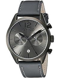 So y de Nueva York Monticello Co para hombre reloj infantil de cuarzo con esfera analógica gris y gris correa de piel 5028,1000000000004