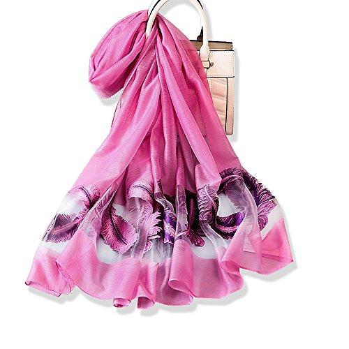 YFZYT Donne Lungo Moda Morbida Sciarpa dell'involucro Signore Sunscreen Ricamo Modello della Piuma Voile Sciarpa Sheer Wedding Wrap da Sposa Leggero - Colore Prugna